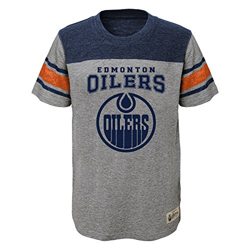 NHL Edmonton Oilers Kids & Youth Boys Heritage Short Sleeve Tee, Medium(10-12), Heather Grey - Nhl Youth T-shirts