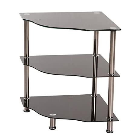 High Quality 3 Tier Black Glass Corner Side Lamp Table Stand Shelf Display Unit Metal  Tube Livingroom