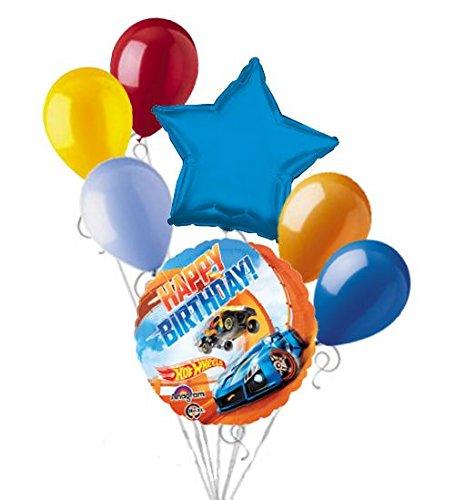 Speed Racer Birthday Party Supplies (7 pc Hotwheels Racer Happy Birthday Balloon Bouquet Hot Wheels Race Car Speed)