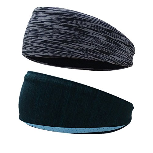 2 Pieces Sports Sweatbands Headbands Moisture Wicking Non Slip Head Bands Head Sarf Soft, Breathable and Stretchy for Yoga,Cycling,Running ,Fitness Exercise and other sports activities