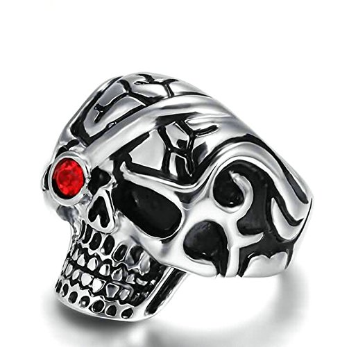 KnSam Men Wedding Bands Stainless Steel Skull Red Crystal Rhinestone Silver Black Size 10 Gia Adjustable Stool