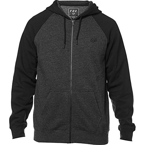 Fox Men's Standard Fit Legacy Logo Zip Hooded Sweatshirt, Black/Charcoal, XL (Monster Fox Hoodie)