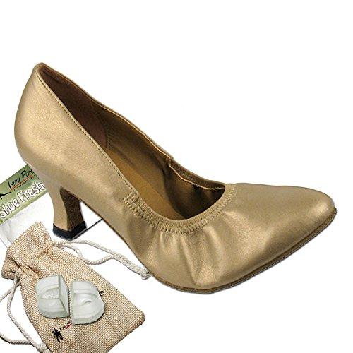 Scarpe Da Ballo Da Donna Scarpe Da Ballo Tango Da Sposa 9624eb Confortevole-molto Fine 2.5 [fascio Di 5] Pelle Oro Chiaro