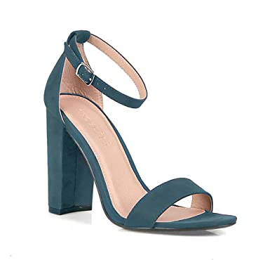 3cdaf398b34 Image Unavailable. Image not available for. Color  Teal Vegan Suede Ankle  Strap Open Toe Chunky Heel Women s Shoes
