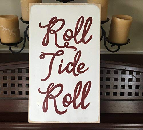 weewen Roll Tide Roll Sign University of Alabama Crimson Southern Tailgating Country Home Plaque Wood Football Wooden Sign Plaque Home Decor Wall Art Room Gardern Sign
