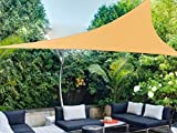Shatex Triangle Shade Sail UV Block Fabric 16.5ft Wheat with Steel D-rings Wheat for Outdoor, Patio,Backyard Facility and Activities