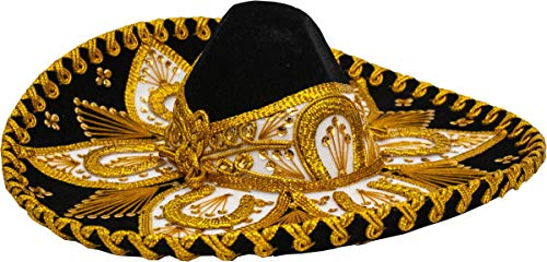 Authentic Adult Mexican Sombrero Mariachi Charro Hat, Premium Mexican Hat for Costume Parties, 5 de Mayo, 16 de Septiembre (Black and Gold Child)