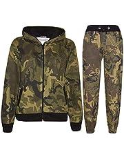 Kids Tracksuit Boys Girls Designer Green Camouflage Jogging Suit Top Bottom 5-13