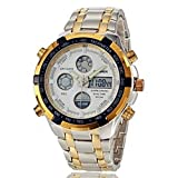 Soleasy Men's Multifunctional Analog-Digital Full Steel Band Wrist Watch(Gold+White)WTH2839