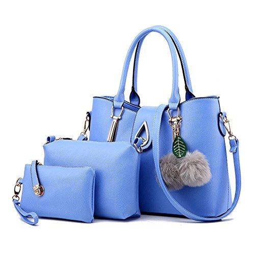 3 Pièces Sacs Pour Femmes en PU Cuir Vintage Sac à main / Sac à bandoulière Pochette Gris clair Bleu