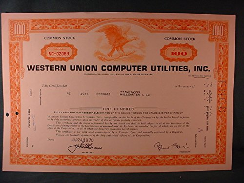 Western Union Computer Utilities, Inc. Near Mint Cancelled 100 Share Common Stock Certificate Issued 1970