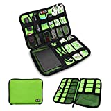 BUBM Universal Cable Organizer Electronics Accessories Case Various USB, Phone, Charge, Cable organizer Travel Organizer--Large (Green)