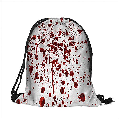 Pocket Drawstring Bag Splashes of Blood Grunge Style Bloodstain Horror Scary Zombie Halloween Themed Backpack Student Bag 15