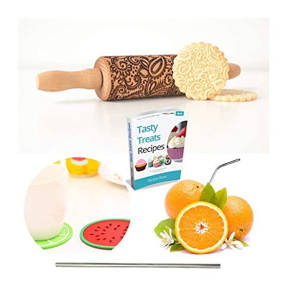 """Paisley Embossed Rolling Pin 16"""" Engraved Rolling Pin for Baking + Cute and Lightweight Wooden Rolling Pin for Kids and Adults to Make Cookie Dough – Attractive Professional Cookie Angel Food 5 START HAVING FUN IN THE KITCHEN WITH ALL YOUR FAMILY. Our textured rolling pin 16 Inch is very easy to use, so have some fun using this engraved rolling pin with your whole family. This embossed rolling pin can be used for fancy pastry decorations, cake decorations, shortbreads, basic biscuits, play dough, and even clay. This wood rolling pin can also be used as a kid's toy. EASY TO CLEAN:You only need to wash under running water and dry in the air,they will not take up too much space in the kitchen drawer ROLLING-PINS can be a really nice housewarming and pretty gift for your friends, kids and your kitchen."""