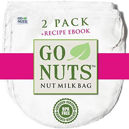 """2-PACK Best Nut Milk Bag - Restaurant Commercial Grade by GoNuts - Cheesecloth Strainer Filter For the Best Almond Milk, Cold Brew Coffee, Tea, Juicing, Yogurt, Tofu - BPA-Free Nylon 12""""x10"""" Fine Mesh - Durable Washable Reusable - FREE Recipe E-book"""