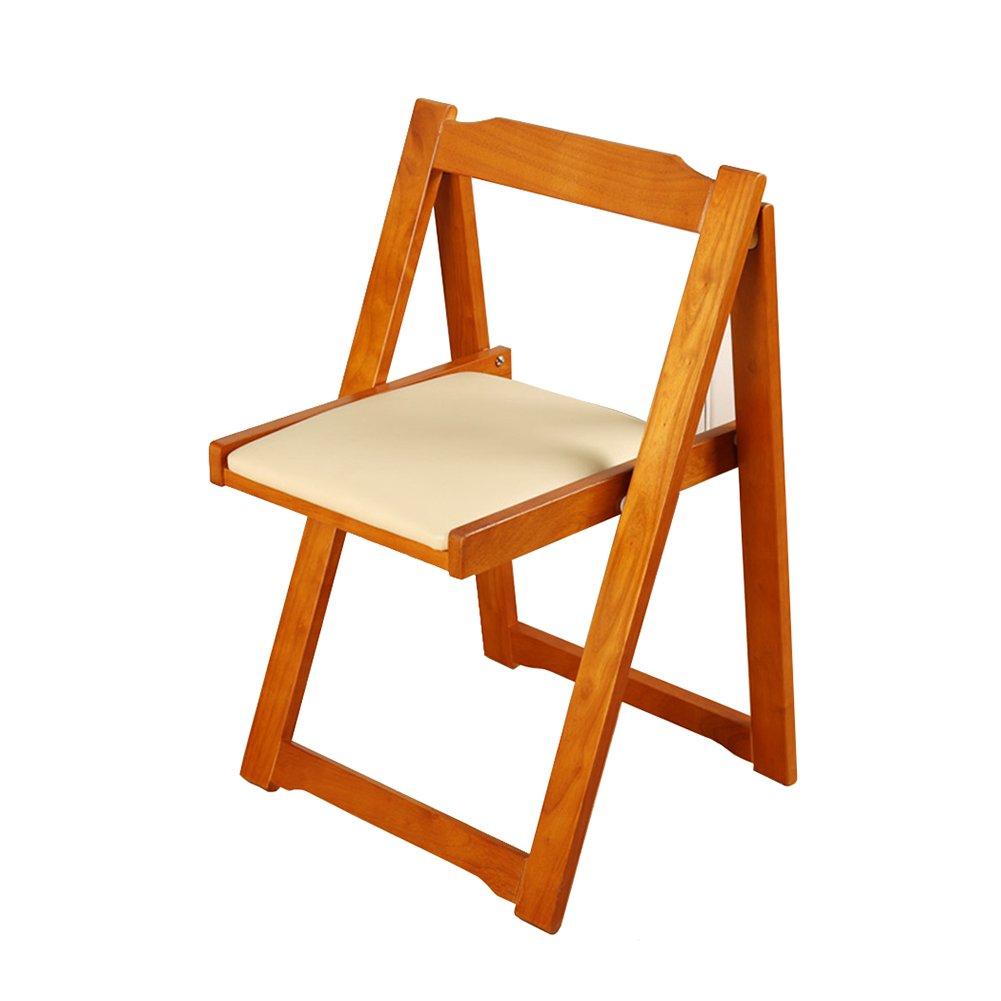LXLAソリッドウッドダイニングチェア折りたたみ式キッチンシートクッション付きクッション付きラウンジコーヒー会議室47.5×48.5×75cm (色 : ハニーカラー) B07F1DY7CX ハニーカラー ハニーカラー