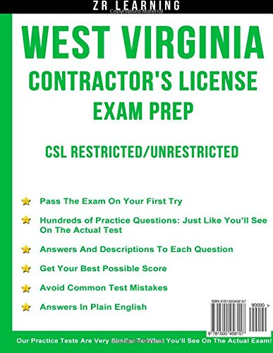 West Virginia Contractor's License Exam Prep: ZR Learning ... on
