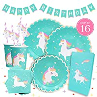 Gooji Beautiful Unicorn Theme Party Supplies Pack [130 Pcs] - Complete Kit of Birthday Decorations, Plates, Favor Bags, Straws, Napkins, Cups, Tablecloth & Happy Birthday Banner Serve 16 Guests, Turquoise Blue