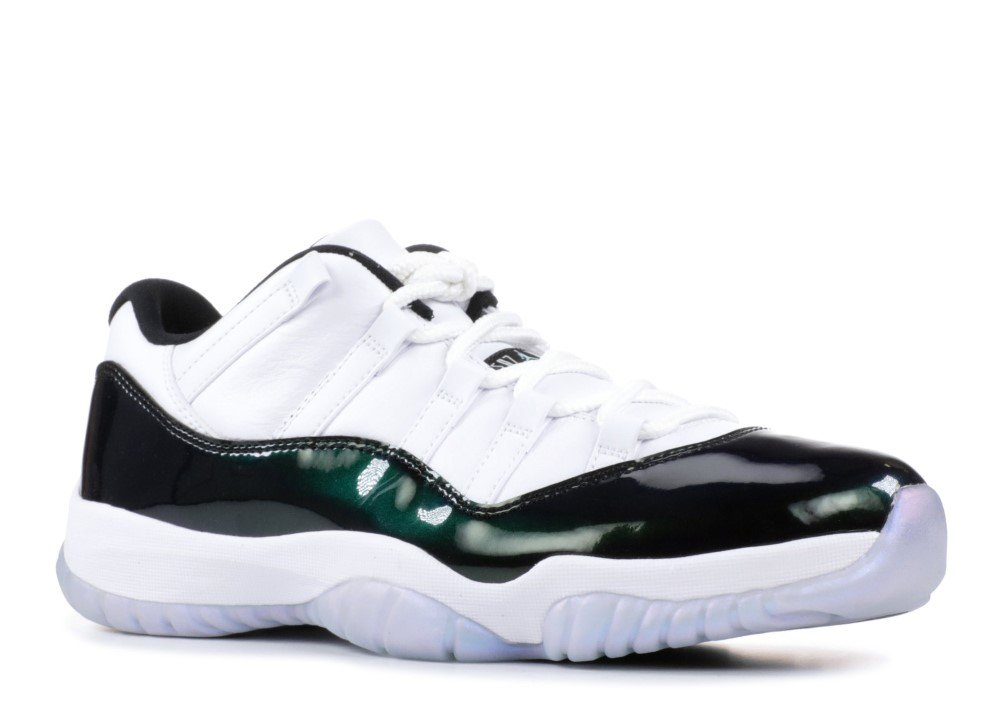 7e942842b4c423 Galleon - Jordan Air 11 Retro Low Men s Basketball Shoes White Emerald Rise Black  528895-145 (12 D(M) US)