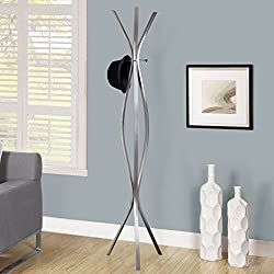 "Monarch Specialties I 2015, Coat Rack, Contemporary Style, Silver Metal, 72"" H"