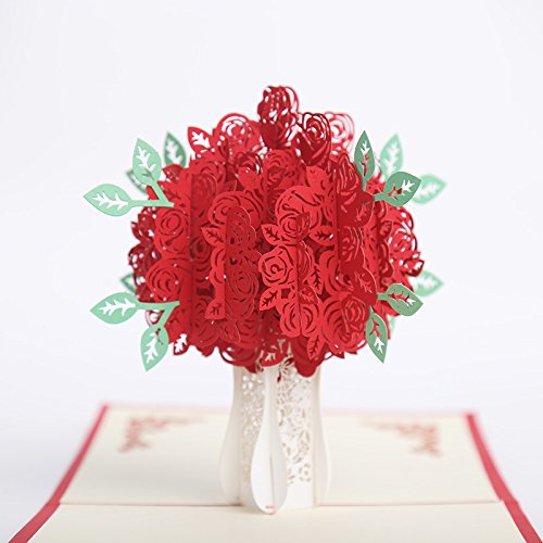 (Rose Red 3D Pop Up Greeting Cards Christmas Birthday Valentine thank you Postcard Gifts (Rose Red, 2 pieces))