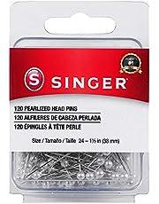 Alfinetes retos com cabeça perolada SINGER 07051, tamanho 24, 120 unidades, branco