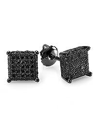 0.50 Carat (ctw) Black Rhodium Plated Sterling Silver Black Diamond Dice Shape Mens Stud Earrings 1/2 CT
