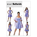 Butterick Patterns B5607 Misses' Dress, Slip, Shrug, Sash, Shawl and Flower, Size AA (6-8-10-12)