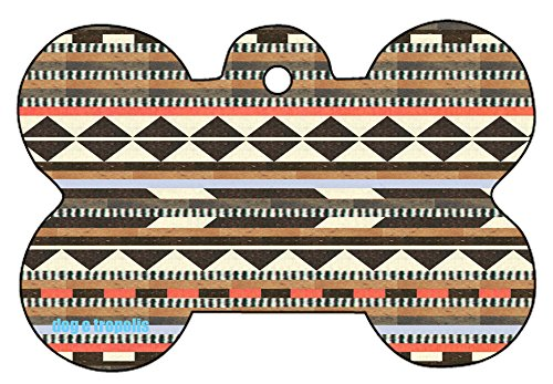 Aztec Indian Tribal Pattern Cross Dog Pet Cat ID Tag Bone Shape Engraved Personalized Key Ring (Brown)