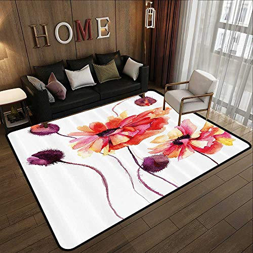 Contemporary Synthetic Rug,Floral,Watercolor Painting Poppy Flowers and Buds Artistic Spring Nature Design,Peach Scarlet Purple 47