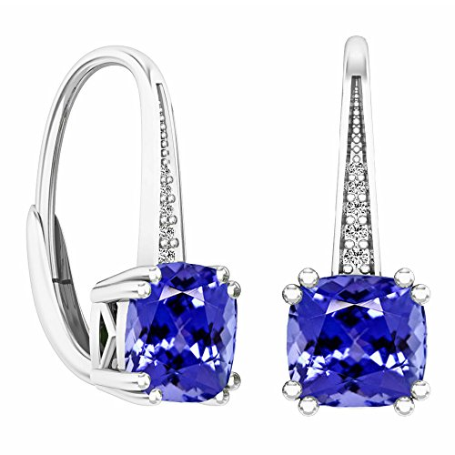 Dazzlingrock Collection 14K Cushion Cut Tanzanite & Round Cut White Diamond Ladies Dangling Drop Earrings, White Gold
