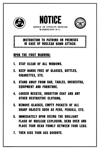 Rare Funny Warning Poster Atomic Bomb College Joke