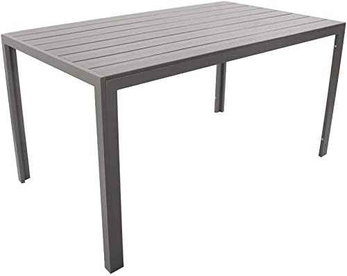 Dporticus Outdoor Patio 55 Rectangular Dining Table Aluminum Frame with Grey Wood Look
