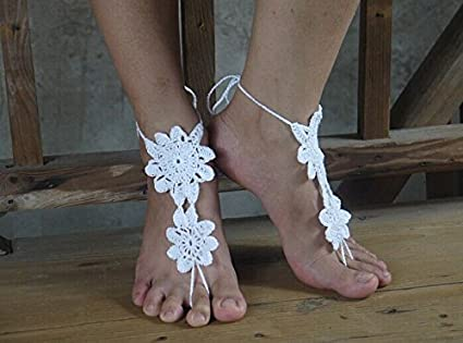 243c6103d895 Image Unavailable. Image not available for. Color  Bridal Barefoot Sandals-white  Crochet Barefoot Sandals-bridal Foot Jewelry-beach Wedding Barefoot