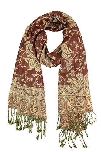 Paskmlna Reversible Paisley Pashmina Shawl Wrap Elegant Colors #6Brown