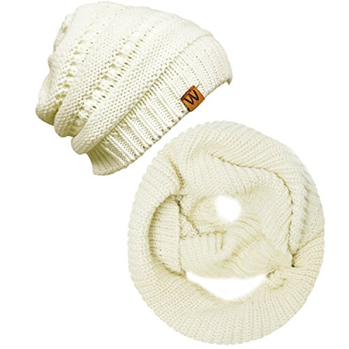 Wrapables Winter Warm Knitted Infinity Scarf and Beanie Hat Set, ()