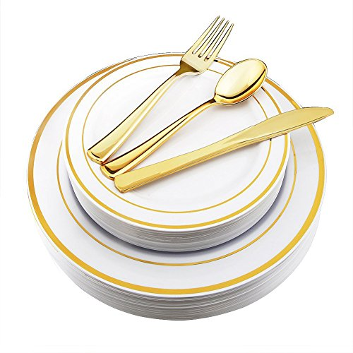 WDF-125 Piece Gold Plastic Silverware Set&Disposable Plastic Plates- Premium Heavyweight Plastic Place Setting include 25 Dinner Plates, 25 Salad Plates, 25 Forks, 25 Knives, 25 Spoons(Gold) - 25 Salad Plate