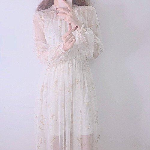 MiGMV?De l't Robes Robe de Gaze Net brod Couleur Pure Jupe Bretelles Deux Ensembles de Femmes Apricot color