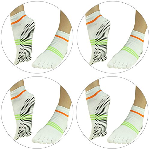 4 J'colour 010 Socks White Slip Pilates Pairs Non for Athletic Socks 3 Gripes Barre Ankle Sports Yoga Stripes Women amp;Men 6wqAr6