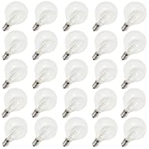 G40 Clear Glass Globe Light Bulbs 5W by Yitee - 25 Bulbs/Set With Box Package- C7 E12 Candelabra Screw Base,Perfect Warm Incandescent Replacement Glass Bulbs For G40 Strands Light String