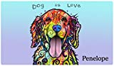 Drymate Personalized Pet Placemat, Dean Russo Designs, Custom Dog Food Mat, Cat Food Mat, Zorb-Tech Anti Flow Technology for Surface Protection (USA Made) (Large - 16'' x 28'', Dog Is Love)