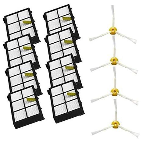 Nrpfell Cepillos Laterales + Filtros Hepa Piezas De Recambio para Irobot Roomba 800 900 Series 805 860 880 890 980 960 870 871 Accesorios para Aspiradoras: ...