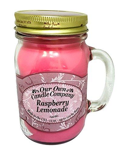 Raspberry Company - Our Own Candle Company Raspberry Lemonade Scented 13 Ounce Mason Jar Candle