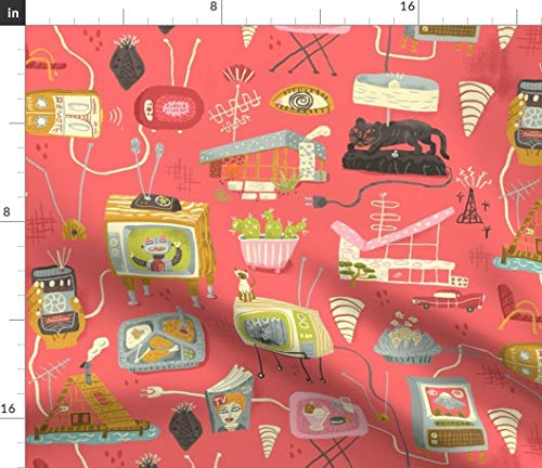 Spoonflower 1950S Fabric - Tv Television Lucy Mid-Century Midcentury Furniture by Skbird Printed on Modern Jersey Fabric by The Yard ()