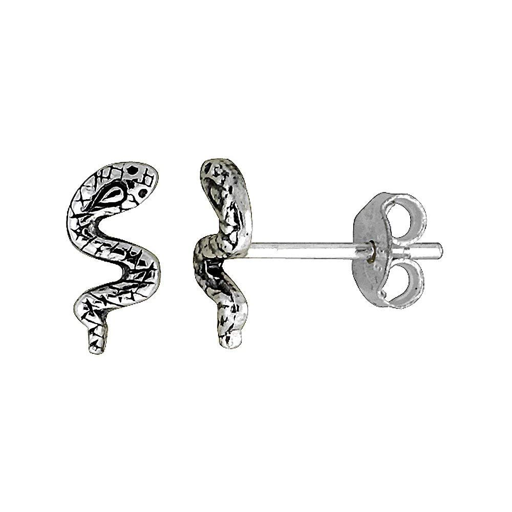 Handmade 925 Oxdized Silver Tiny Snakes Serpents Finish Pewter Dangle Earrings