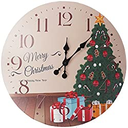 Lulu Decor, Merry Christmas with christmas tree Rustic Round Wood Wall Clock 23.50in clear arabic numbers, perfect for christmas gift/holiday gift (Christmas Tree)