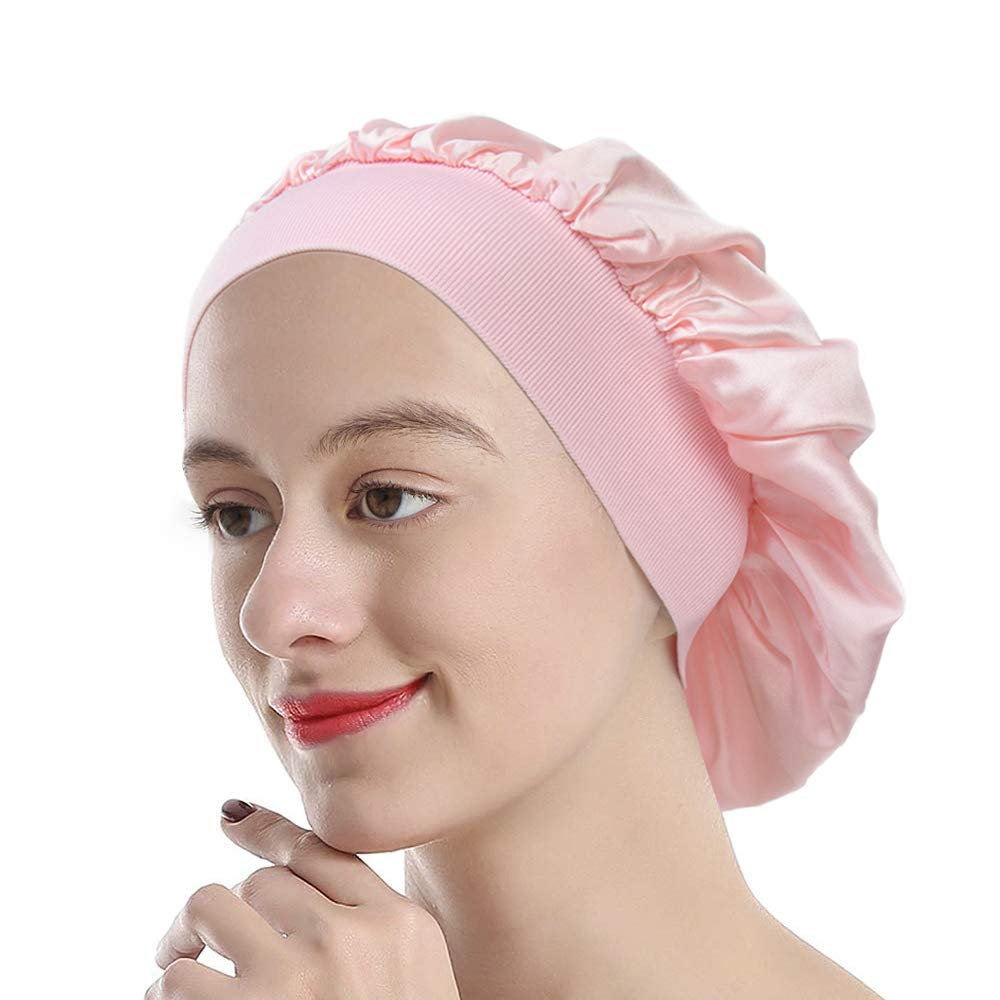 Mommesilk Silk Sleeping Cap for Women Sleep Bonnet Cap for Curly Hair with Premium Elastic Band Light Plum by Mommesilk