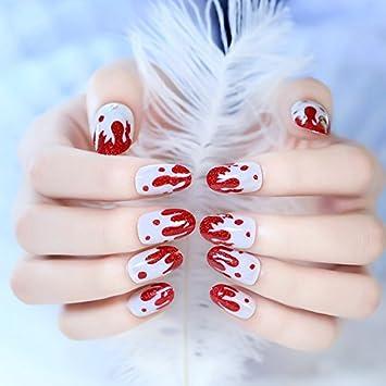 Amazon 24pcskit Short Press On Nails Red Strawberry Design