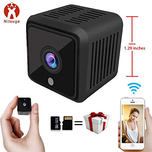 (Mini Spy Camera HD WiFi | Small Hidden Wireless Nanny Cam with Remote Monitoring | Infrared Night Vision and Motion Detection | Surveillance Camera with Built-in Battery)