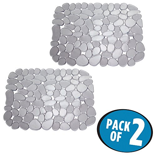 mDesign Decorative Kitchen Sink Protector Mat Pad, Quick Draining - Use In Sinks to Protect Surfaces and Dishes - Modern Pebble Design - Customizable Sink Mat - Pack of 2, Graphite Gray